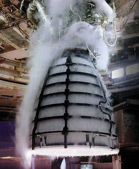 RS-25 being tested at NASA's John C. Stennis Space Center