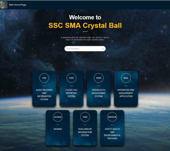 Dashboard Image of the SSC's SMA Crystal Ball